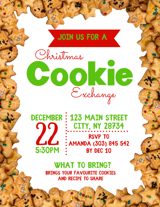 Christmas Cookie Exchange Flyer Template PosterMyWall