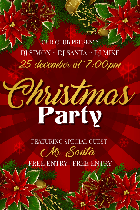 christmas party poster template free