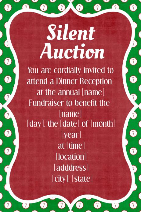 Christmas Silent Auction Fundraiser Invitation Dinner Dance Template