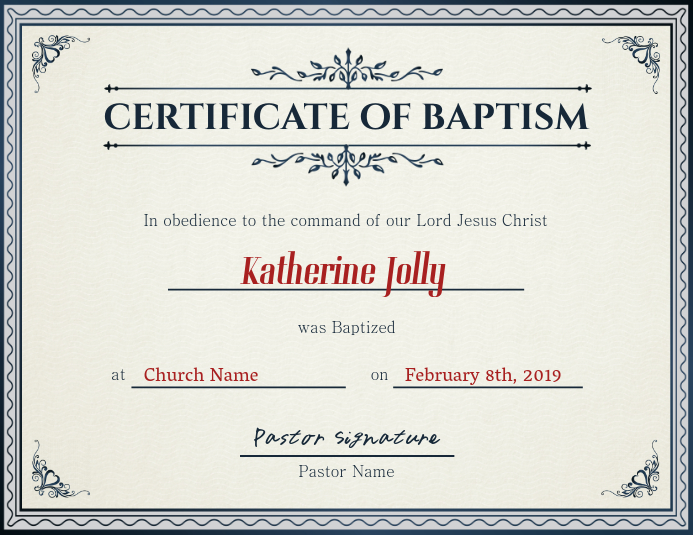 Church Certificate of Baptism Template PosterMyWall