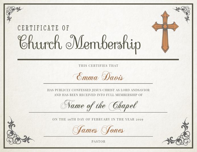 Classic Church Membership Certificate Template PosterMyWall