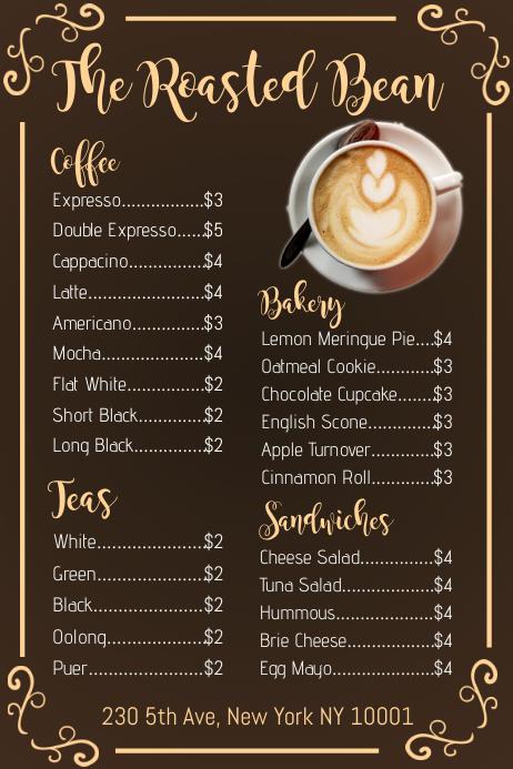 Coffee Shop Menu Template PosterMyWall