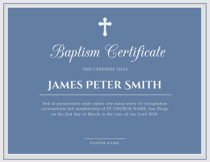 Contemporary Church Baptism Certificate Template PosterMyWall