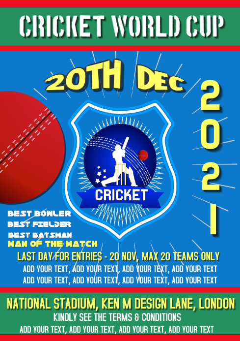Cricket, Sports, world cup flyer, poster Template PosterMyWall