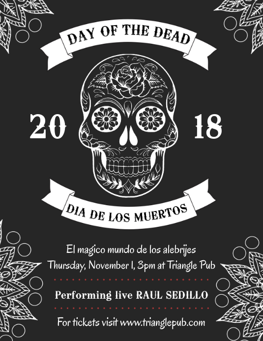 Day of the Dead Black and White Flyer Template PosterMyWall
