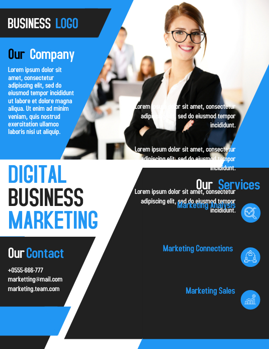 Digital marketing business flyer template design PosterMyWall