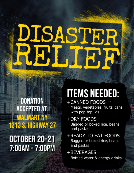 Disaster Relief Flyer Template PosterMyWall