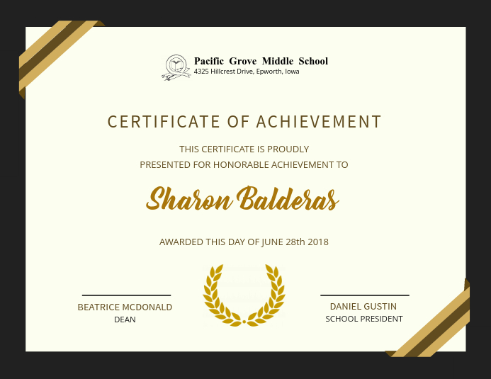 Elegant Achievement Certificate Design Template PosterMyWall