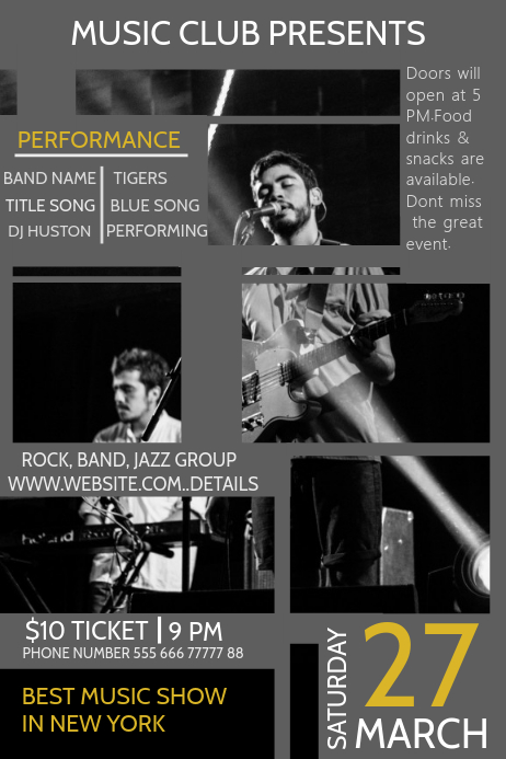 Event poster template,Band templates,Concert Flyers PosterMyWall