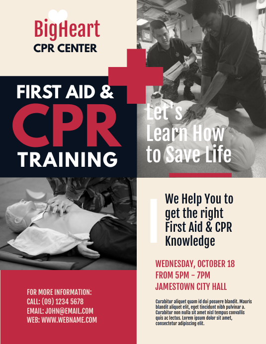 First Aid  CPR Training Flyer Template PosterMyWall
