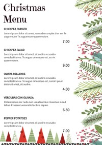 Floral Christmas Menu Design Template
