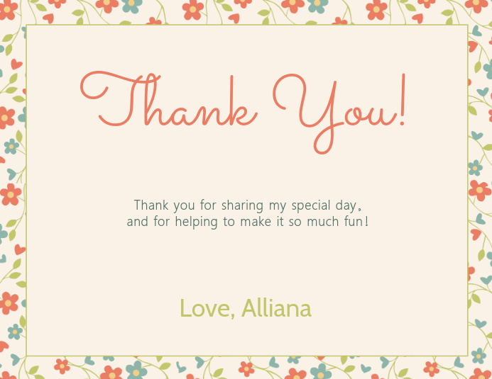 Floral Thank You Card Template PosterMyWall