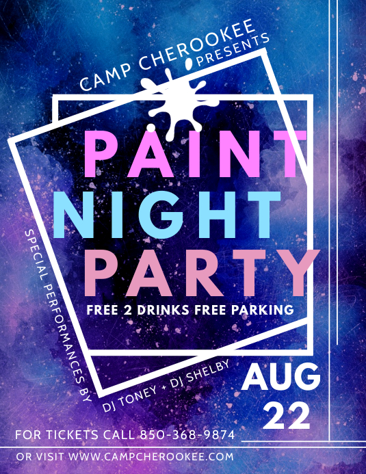 Geometric Paint Night Party Flyer Design Template PosterMyWall