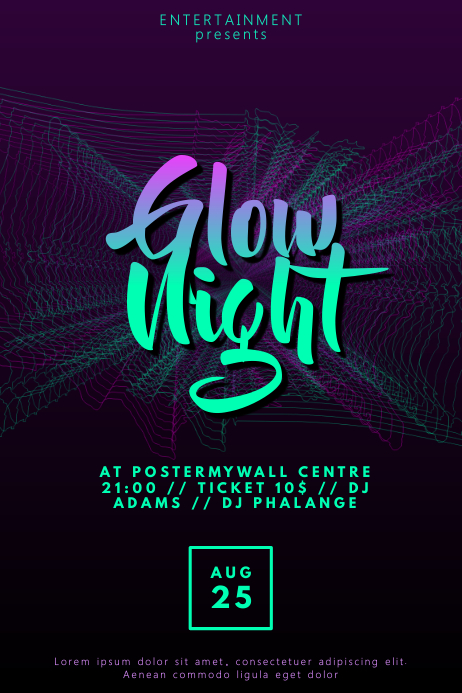 Glow Disco Party flyer template PosterMyWall