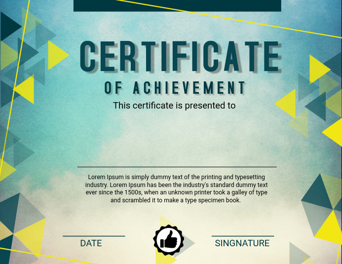 Green Certificate of Achievement Template PosterMyWall