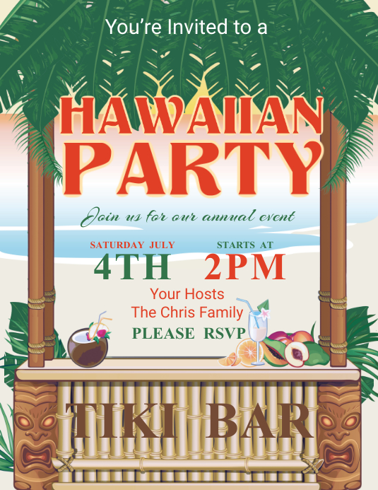 Hawaiian Party Flyer Template PosterMyWall