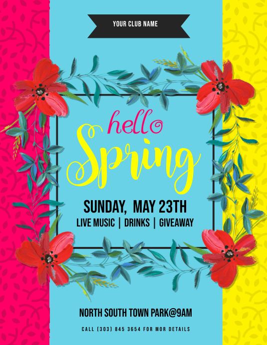 Hello Spring Flyer Template PosterMyWall
