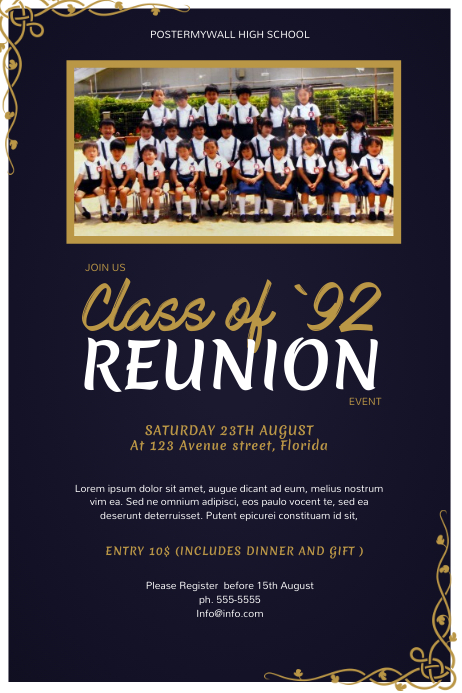 High School Class Reunion Flyer Template PosterMyWall