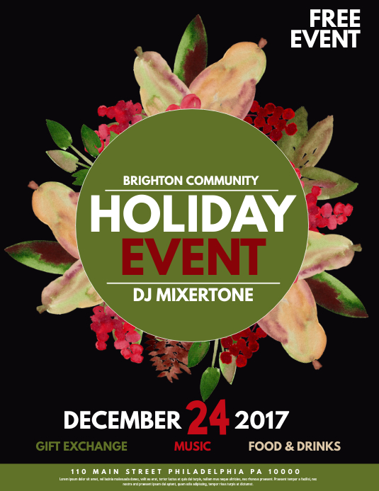 free holiday event flyer template - Timiznceptzmusic