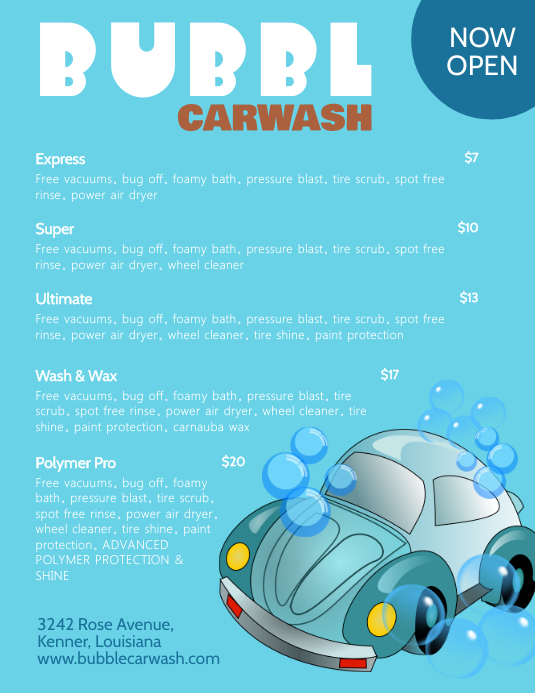 Illustrative Car Wash Price List Templates PosterMyWall