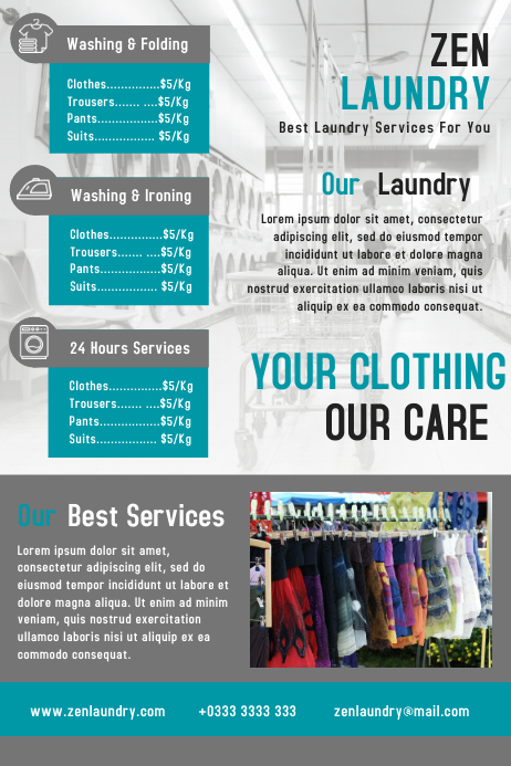 Laundry business flyer template design PosterMyWall