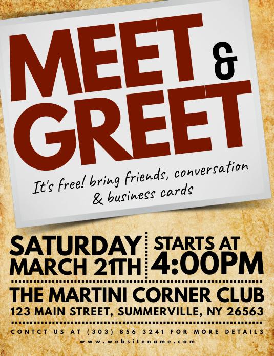 Meet  Greet Flyer Template PosterMyWall
