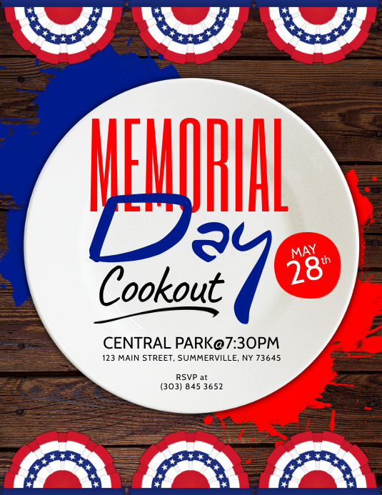 Memorial Day Cookout Flyer Template PosterMyWall
