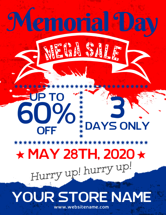 Memorial Day Sale Flyer Template PosterMyWall