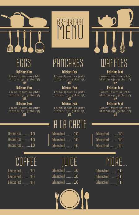bar and grill menu template