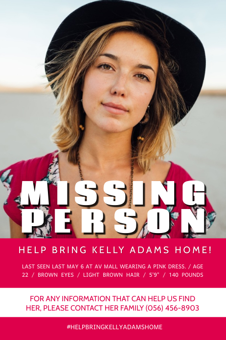 Missing Person Poster Template PosterMyWall