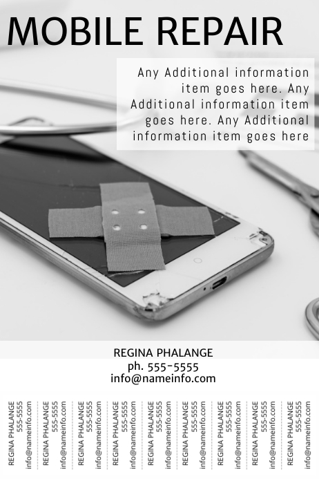 Mobile Repair Flyer Template with tear off tabs printable PosterMyWall