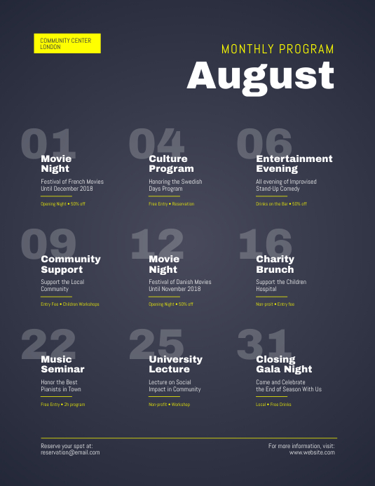 Monthly Program Events Calendar Flyer Template PosterMyWall