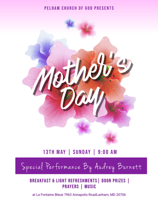 Mother\u0027s Day Church Flyer template PosterMyWall