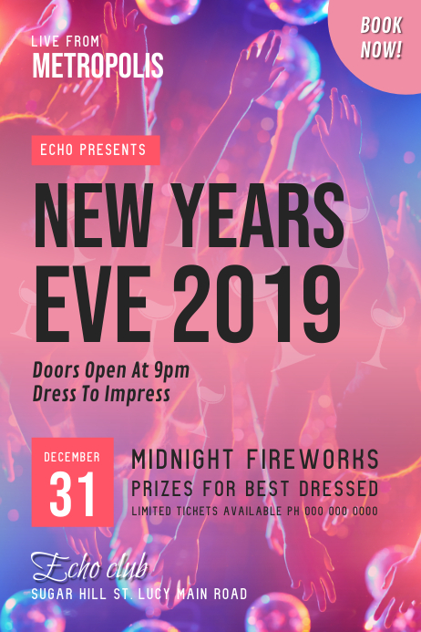 New Year\u0027s Eve 2019 Poster Template PosterMyWall