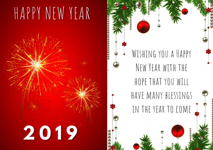 NEW YEAR CARD 2019 Template PosterMyWall
