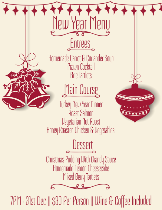 New Years Eve Menu Template PosterMyWall