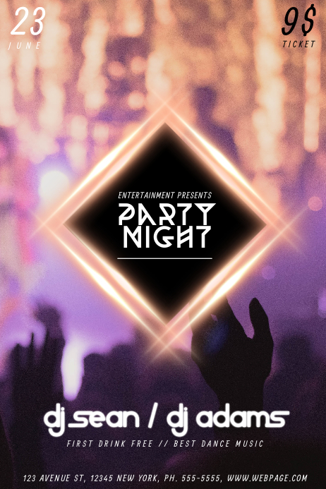 Party Dance Night Flyer Template for Party Night Club PosterMyWall