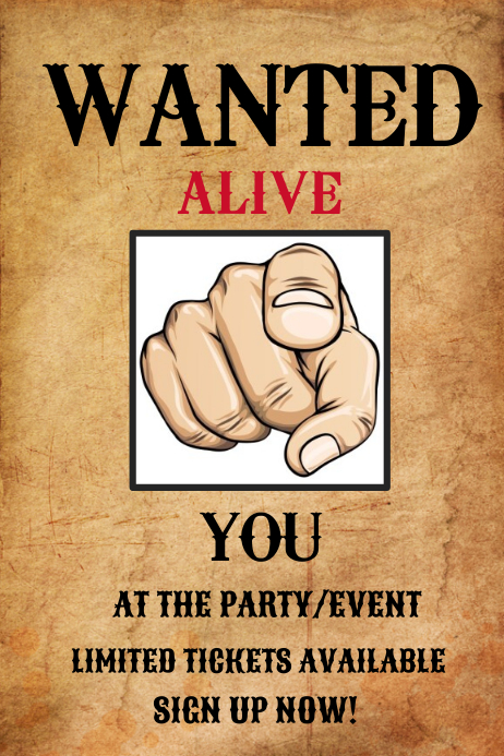 Party or Event Wanted Poster Template PosterMyWall