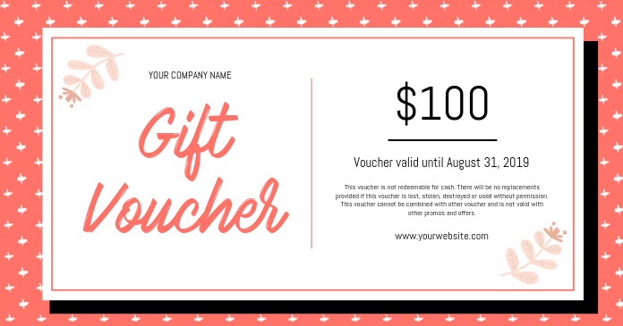 Peach and White Gift Voucher Template PosterMyWall