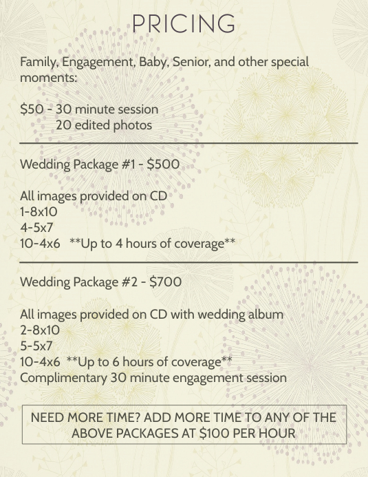 Photography Pricing Template PosterMyWall
