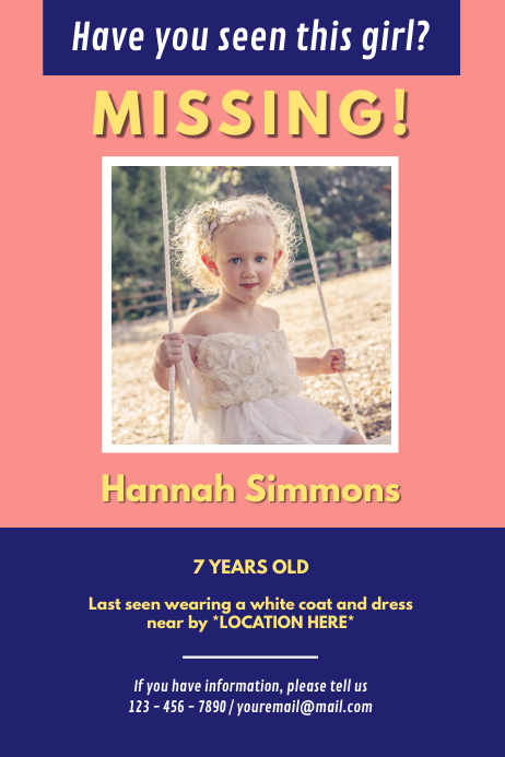 Pink Missing Girl Poster Template PosterMyWall