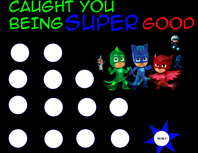 PJ MASK STICKER CHART Template PosterMyWall