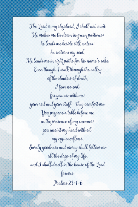 Psalms Prayer Christian memorial funeral poster The Lord is Template