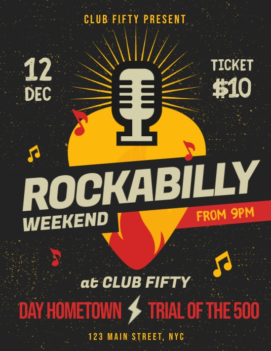 Rockabilly Music Event Flyer Template PosterMyWall