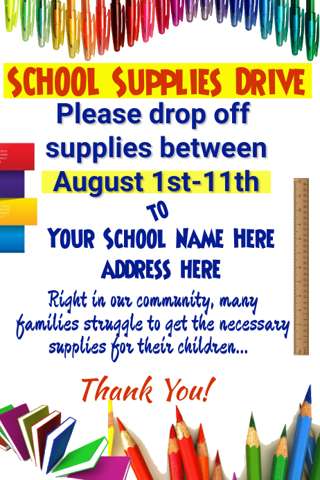 School Supplies Drive Poster Template PosterMyWall