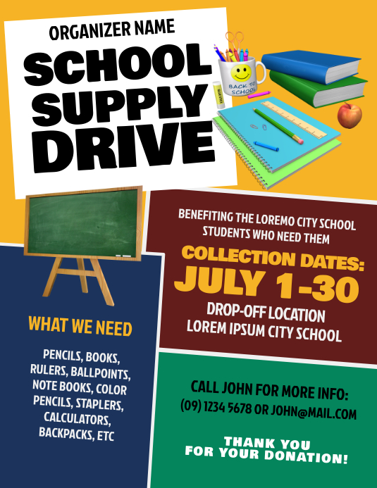 School Supply Drive Flyer Template PosterMyWall
