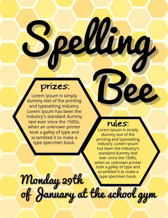 Spelling Bee Competition Flyer Template PosterMyWall