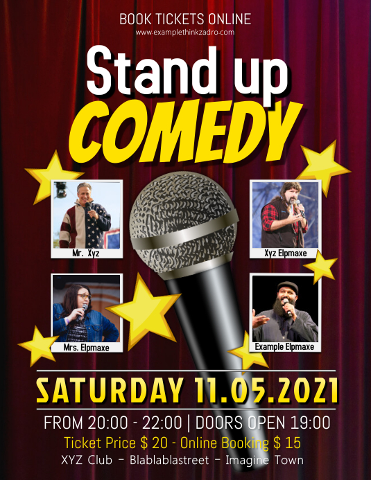 Stand up Comedy Show Flyer Template PosterMyWall