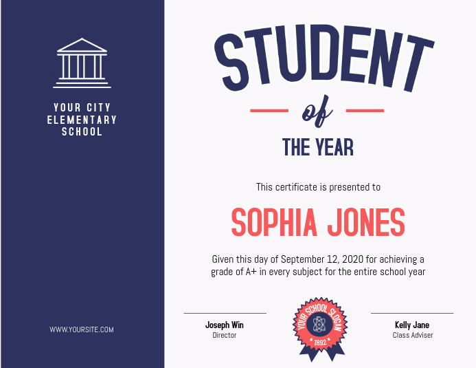 Student of the Year Blue Certificate Template PosterMyWall