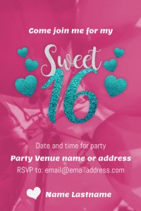Sweet 16 Party flyer Template | PosterMyWall